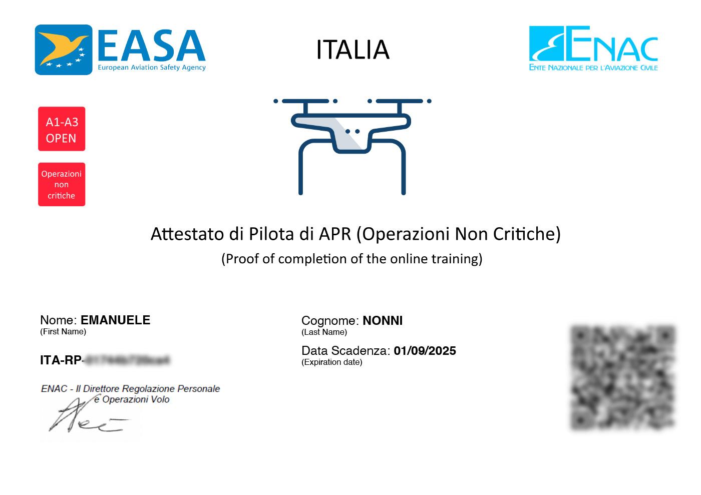 Attestato Pilota APRITA-RP - Emanuele Nonni