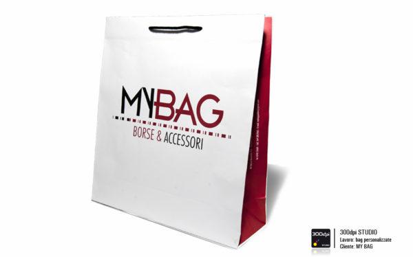 Busta in carta con manici in corda personalizzata My Bag. Formato 45x19x47 cm