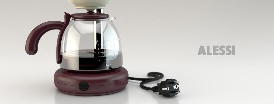 Modellazione 3D e Rendering: GEO, macchina per il caffè filtrato by Alessi