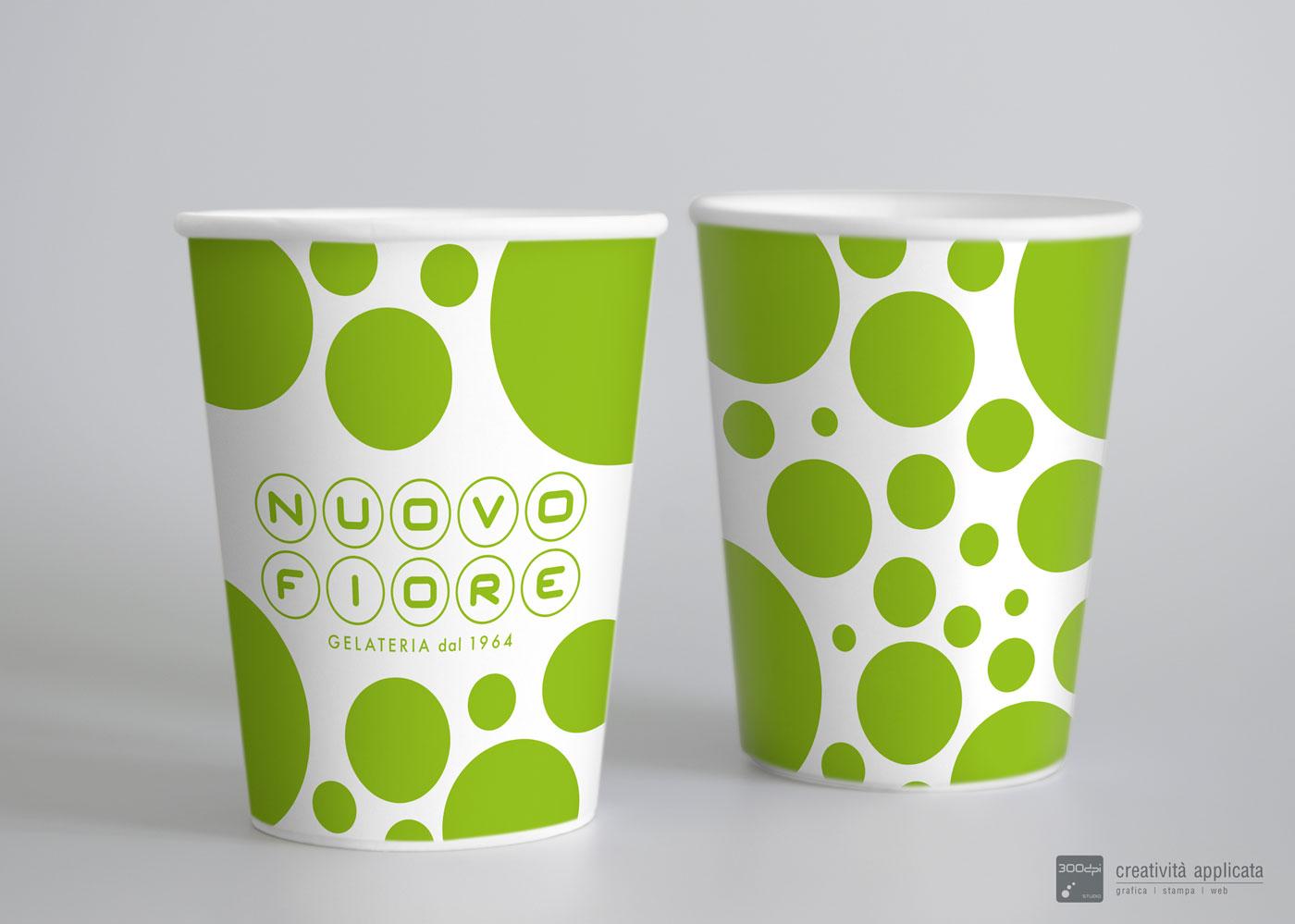 Bicchiere in carta Gelateria NUOVO FIORE Rimini | 300dpi STUDIO
