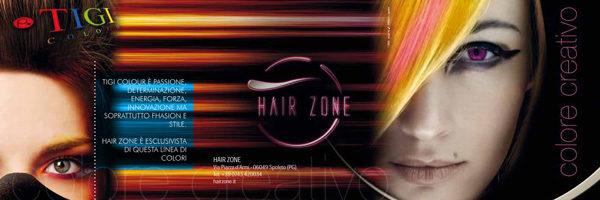 Esterno brochure aperta HAIR ZONE colore creativo
