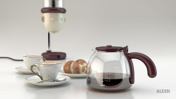 Composizione 3d caffettiera per solubile Gio by Alessi