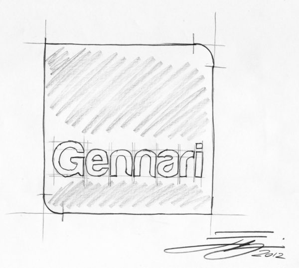 Disegno a mano di Emanuele Nonni: logo Gennari