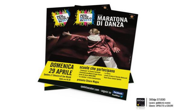 """Grafica locandina dell'evento """"Maratona della Danza"""" della manifestazione Spoleto a Colori"""