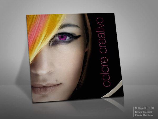 Copertina brochure Hair Zone colore creativo.
