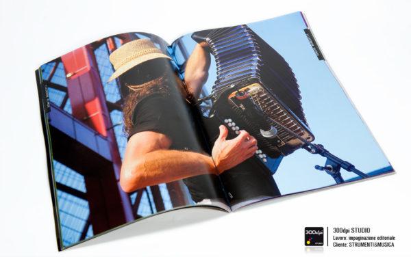Impaginazione editoriale della rivista Strumenti&Musica nr 6 foto fisarmonicista