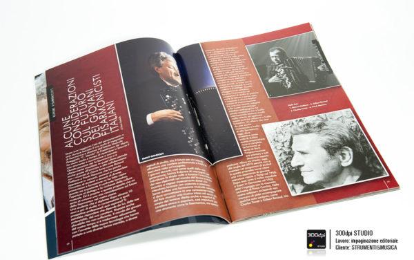 """Impaginazione editoriale della rivista Strumenti&Musica nr 10 articolo su """" le considerazioni sul futuro dei fisarmonicisti italiani"""""""