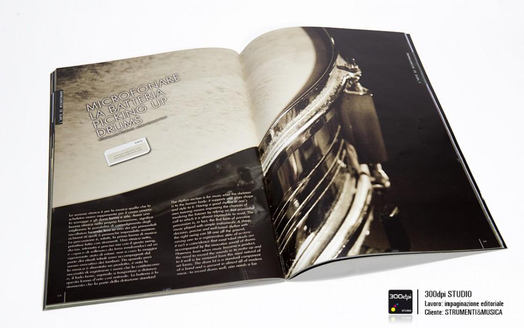 """Impaginazione editoriale Strumenti&Musica festival nr 7 articolo """"microfonando la batteria"""""""