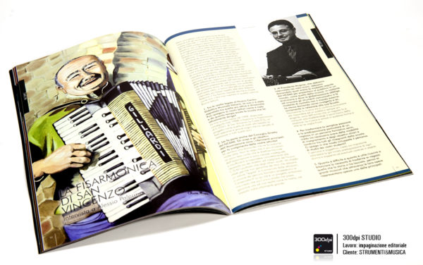 """Impaginazione editoriale Strumenti&Musica magazine nr 13 articolo su la """"fisarmonica di San Vincenzo"""""""
