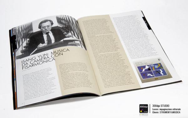 Impaginazione editoriale Strumenti&Musica nr 12 articolo su Isang Yun