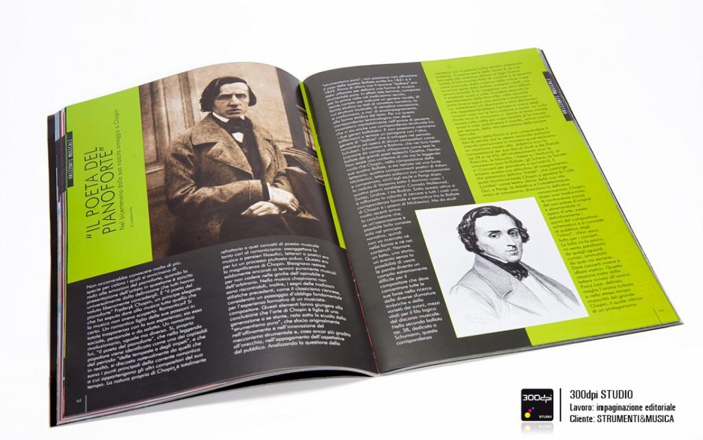 """Impaginazione editoriale Strumenti&Musica nr 12 articolo """"Il poeta del pianoforte"""""""