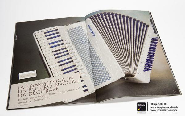 """Impaginazione grafica della rivista musicale Strumenti&Musica nr 11 articolo su """"la fisarmonica un futuro da decifrare"""""""