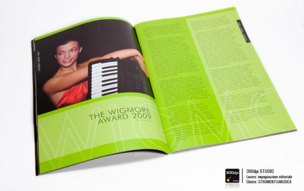 """Impaginazione grafica della rivista musicale Strumenti&Musica nr 7 articolo su """"wigmore award"""""""