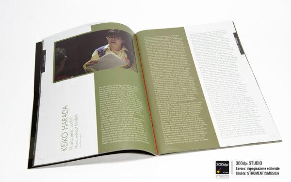 Impaginazione grafica della rivista musicale Strumenti&Musica nr 9 articolo su Keiko Harada