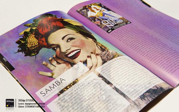 Impaginazione grafica della rivista Strumenti&Musica nr° 19 articolo sulla Samba