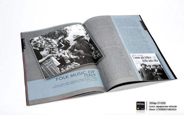 """Impaginazione rivista musicale Strumenti&Musica nr 8 articolo """"Folk Music of Italy"""""""
