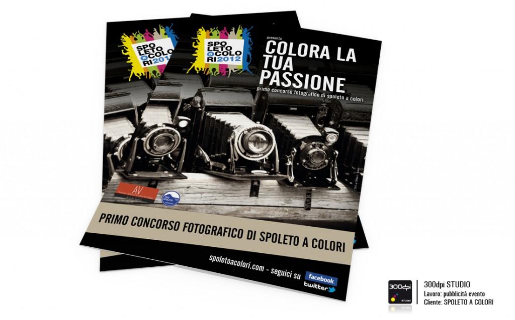 """Locandina de primo evento fotografico di Spoleto, """"colora la tua passione"""". Manifestazione Spoleto a Colori"""