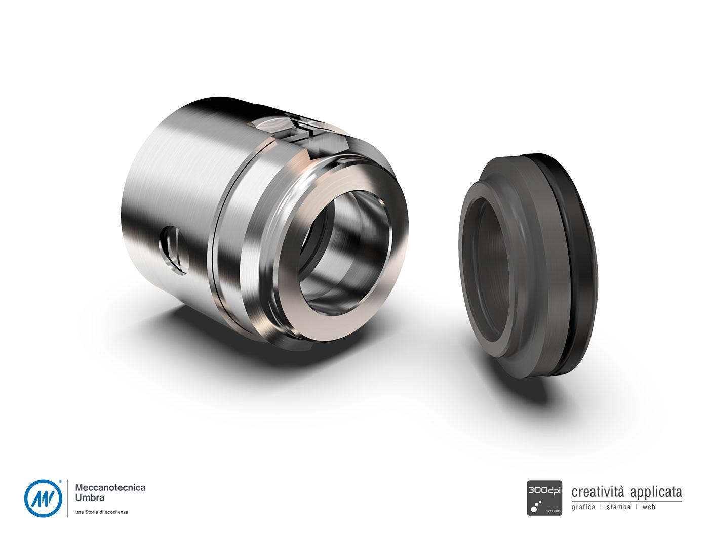 Pezzo meccanico render 3D - Meccanotecnica Umbra