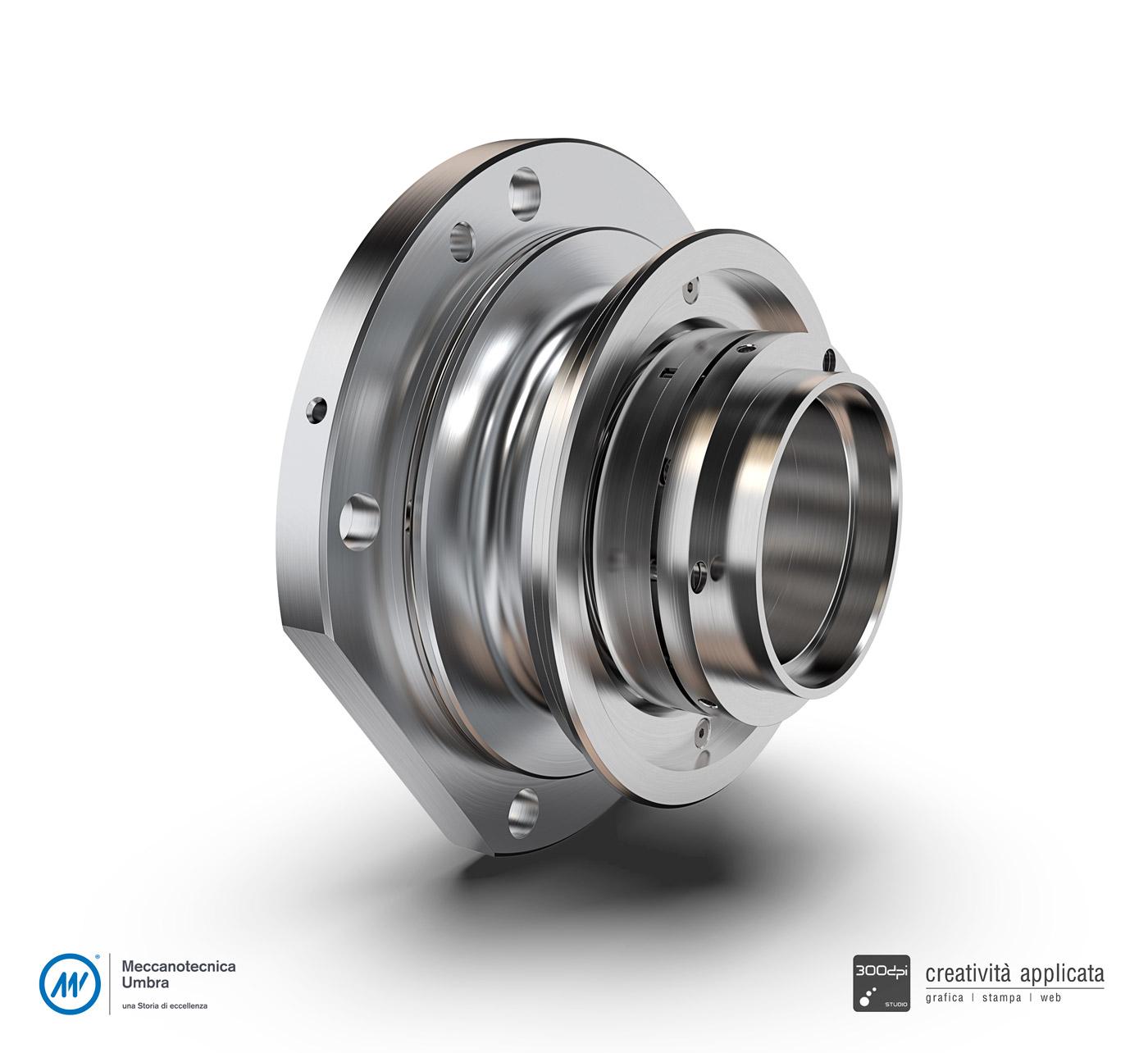 Pezzo meccanico: rendering 3D professionale - Meccanotecnica Umbra