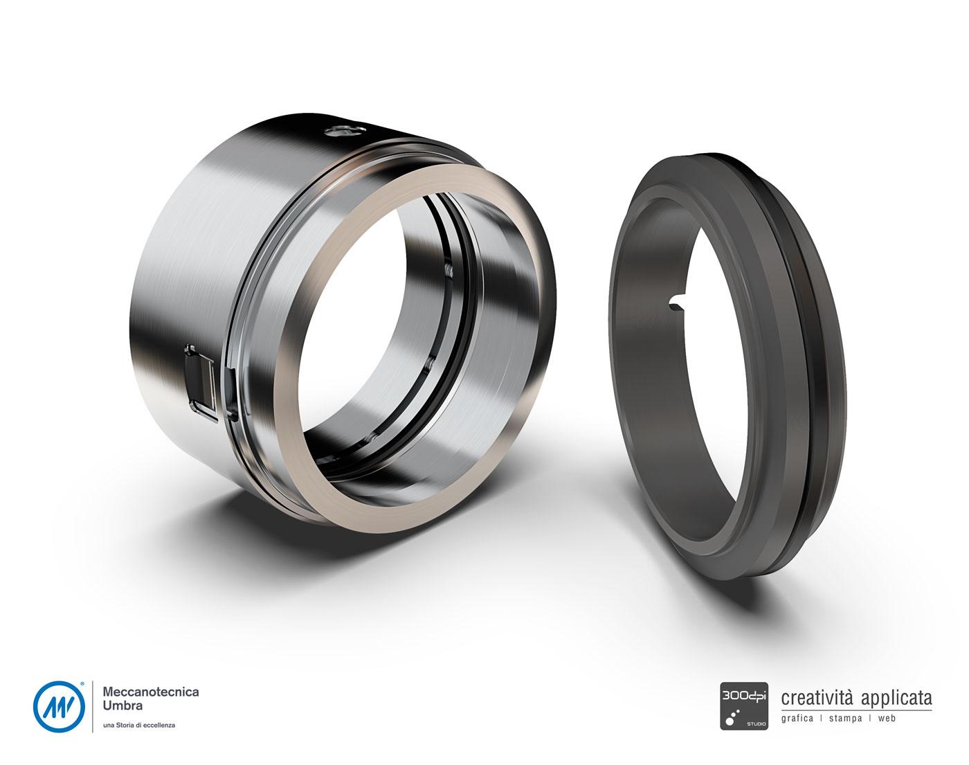 Render 3D pezzo meccanico - Meccanotecnica Umbra