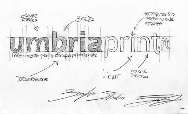 Sviluppo logo a matita UmbriaPrint.it