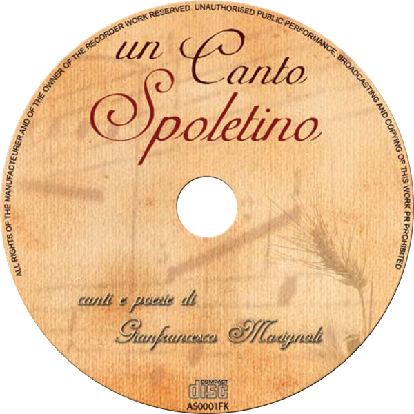 "Grafica label CD di ""Un Canto Spoletino"""